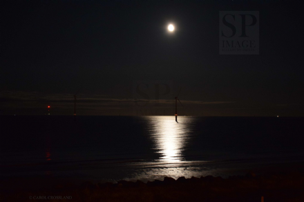 NORTHUMBERLAND COAST: Moon Sea and Wind Turbines at North Blyth Beach